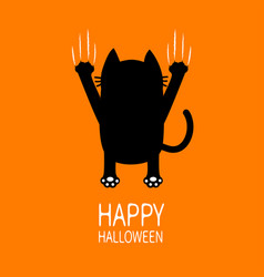 happy halloween greeting card cartoon black cat vector image vector image
