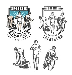 Triathlon emblems and design elements vector image vector image