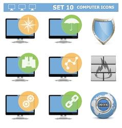 Computer icons set 10 vector