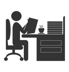 Flat office read newspaper icon isolated on white vector image