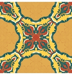 Red and yellow mandala ornament over seamless vector image