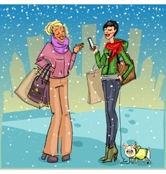 Women with shopping bags phone and dog vector image vector image
