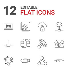 12 connect icons vector image