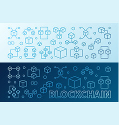 2 blockchain creative colored outline banners or vector