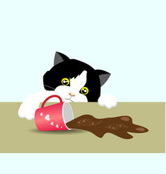 adorable cat spilled out coffee vector image