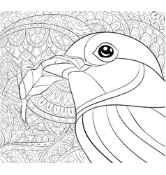 Adult coloring bookpage a cute bird on the vector