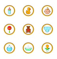 Baby icon set cartoon style vector