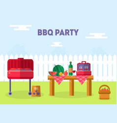 bbq party banner template outdoor picnic elements vector image