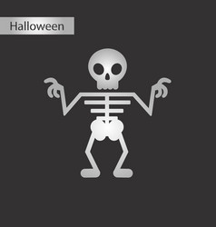 black and white style icon halloween skeleton vector image