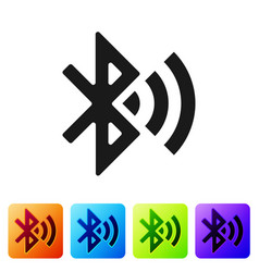 Black bluetooth connected icon isolated on white vector