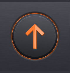 black up button with orange arrow vector image