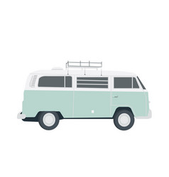 Blue retro bus isolated on white simple flat vector