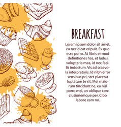 breakfast food hand drawn sketch template set vector image