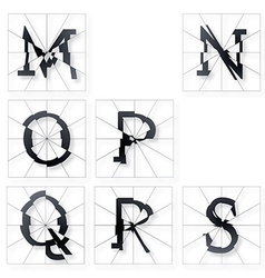 Broken font m to s vector