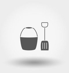bucket and shovel toy icon silhouette vector image