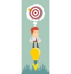 Business man flying on the light bulb vector image