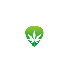 cannabis leaf herb nature logo vector image