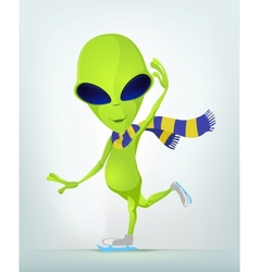 Cartoon Alien Ice Skating vector image