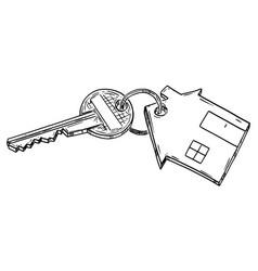 cartoon home key with family house keyring vector image
