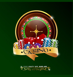 casino roulette wheel with chips and red dice vector image
