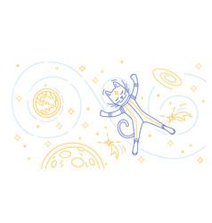 cat astronaut flying in space vector image