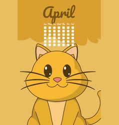 Cat cute calendar cartoon vector
