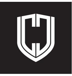 cc logo monogram with emblem shield design vector image