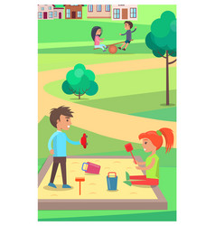 Children playing with toys in sandbox in park vector