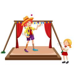 Children watching juggling show vector