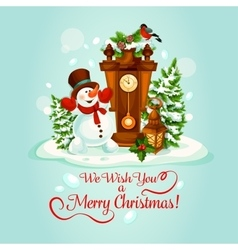 Christmas holiday poster with snowman and clock vector