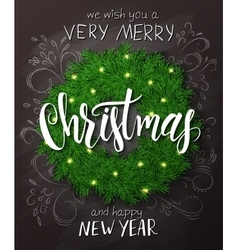 Christmas poster with christmas decoration vector