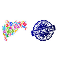 christmas sale collage of mosaic map of vector image
