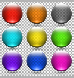 colored transparent glass balls set vector image
