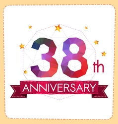 Colorful polygonal anniversary logo 2 038 vector