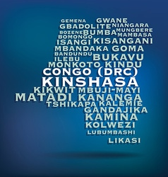 Congo DRC map made with name of cities vector image