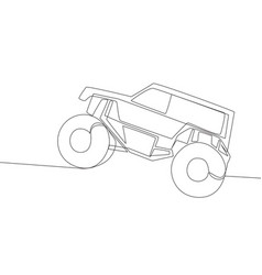 Continuous line drawing of 4x4 wheel steering vector