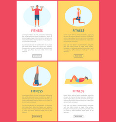 Daily workout and fitness tips online web pages vector