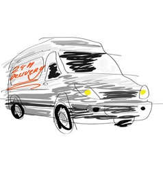 Delivery van sketch vector image