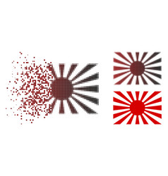 Dispersed pixelated halftone japanese rising sun vector