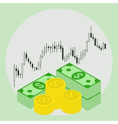 dollars on forex stock chart background vector image