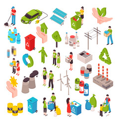 Ecology and garbage isometric set vector