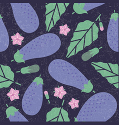 Eggplant seamless pattern leaves flowers vector