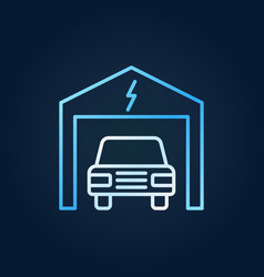 electric car in garage colored outline icon vector image
