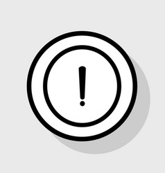 exclamation mark sign flat black icon in vector image