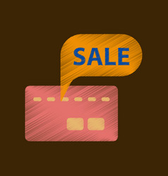 flat shading style icon bank card sale vector image