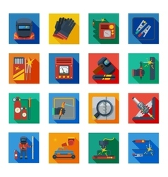 Flat Welding Icons In Colorful Squares vector