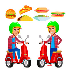 food delivery service red scooter man vector image