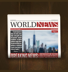 Front page newspaper realistic poster vector