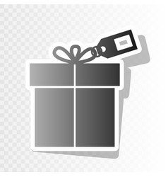 gift sign with tag new year blackish icon vector image