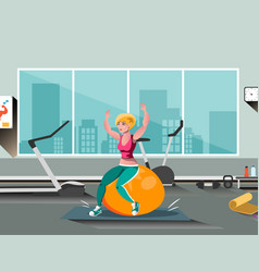girl on ball engaged in fitness vector image